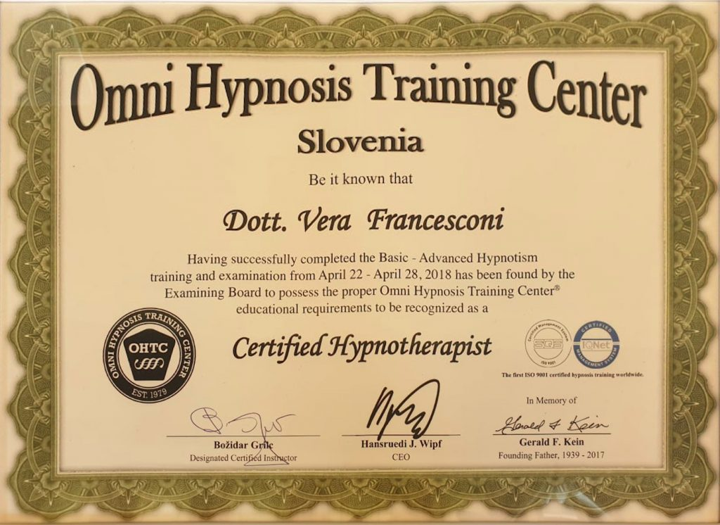 Certificazione Ipnotista