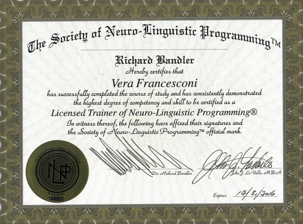 Licensed Trainer of NLP Vera