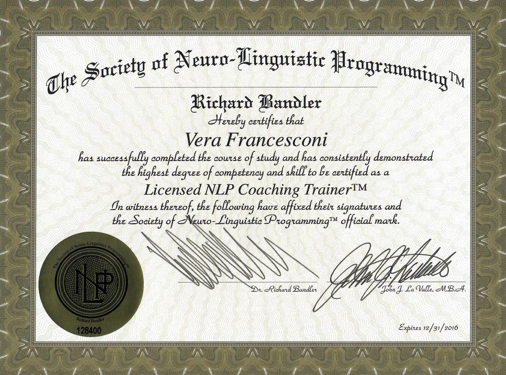 NLP Coaching Trainer Vera Francesconi